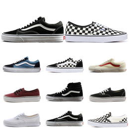 Running shoes skateboaRd online shopping - fear of god mens women canvas sneakers van old skool sk8 skateboard shoes black CHECKERBOARD flat men casual shoe size