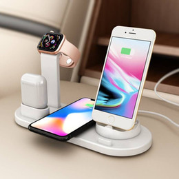 China Wireless Charger 6 in 1 Fast Holder Stand For Apple Watch Series 4 3 2 iwatch Airpods Iphone XR XS MAX Huawei Samsung Note 10 Dock Station suppliers