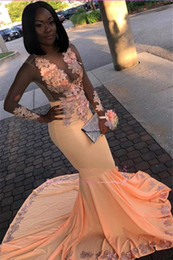 Sheer black dreSS online shopping - 2019 Peach Long Sleeves Satin Mermaid Prom Dresses Black Girls Sheer Tulle Lace Applique Sweep Train Party Evening Gowns BC1794