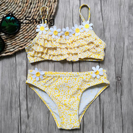 Discount 3d swimwear - 2-10 Years Baby Girls Swimsuit Kids 3D Floral Toddler Girl Bikini Set Two Piece Children Swimwear Falbala Infant Girl Sw