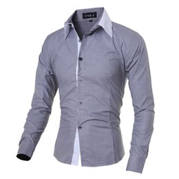 Sleeves Shirts For Men Australia - 2019 New Brand Mens Casual Shirt Long Sleeve Banded Collar Easy Care Collarless Shirts Slim Fit Dress Shirt For Men Business