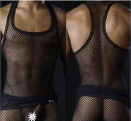 $enCountryForm.capitalKeyWord NZ - Black men's sexy tanks tops Male underwear Gay clothing mesh net Fashion man clothes Undershirts for men sleeveless vest fishnet