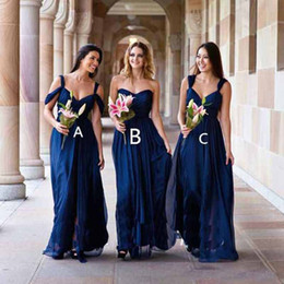 Blue Shirt For Wedding Australia - 2018 Navy Blue Long Country Bridesmaid Dress Three Styles Chiffon Women Wear Formal Maid of Honor Dress For Wedding Party Gown Plus Size