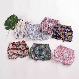 Crystal Flowers Clothes Australia - Floral Baby Girls Shorts Pants Flower Children Girls Cotton Flat Angle Pants Toddler Girl Clothes Kids Boutique Clothing Kids PP Pants INS