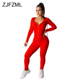 Discount red plus size rompers Front Zipper Sexy Rompers Womens Jumpsuit Long Sleeve Hooded One Piece Bodysuit Casual Sportswear Solid Plus Size Club O