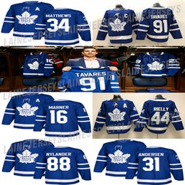 Toronto Maple Leafs Jersey 91 John Tavares 34 Auston Matthew 16 Mitchell Marner 88 William Nylander 44 Morgan Rielly Hockey Jerseys em Promoção