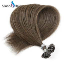 $enCountryForm.capitalKeyWord NZ - Silanda Hair Luxury #6 Straight Remy Hair U Tip Nail Keratin Tip Hot Fusion Bonded Human Hair Extensions 50 strands pack Free Shipping