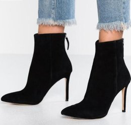 $enCountryForm.capitalKeyWord NZ - 2019 spring new women suede boots thin heel sexy red women ankle booties point toe boots ladies party shoes back zip mujer botas