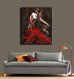 Discount flamenco dancer oil paintings - High Quality Modern Abstract Handpainted & HD Print Oil Painting Spanish Flamenco Dancer Portrait On Canvas Wall Art Hom