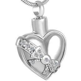 Ash holder online shopping - IJD8561 Stainless Steel Cremation Heart White bowknot Urn Pendant Memorial Keepsake Perfume Ash Holder Cremation with Chain Jewelry