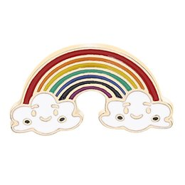 rainbow brooches UK - Rainbow Europe And America Creative New Cute Rainbow Sun Clouds Black Cloud Brooch Has 4 Styles To Choose From
