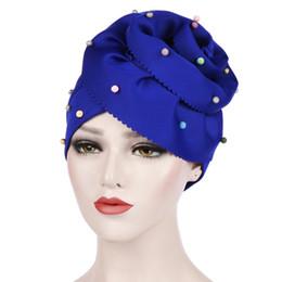 Big Headed Hats Australia - Muslim Women Bead Cotton Big Flower Turban Hats Cancer Chemo Beanies Cap Hijab Pleated Wrap Head Cover Hair Loss Accessories