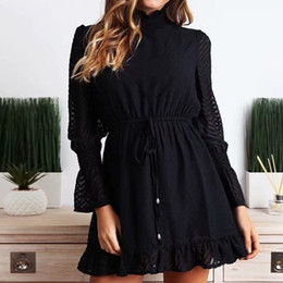$enCountryForm.capitalKeyWord Australia - Turtleneck Black Bandage Dresses Women Autumn Sexy Transparent Striped Bodycon Long Sleeve White Elegant Party Vestidos