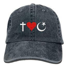 2019 New Cheap Baseball Caps Print Hat I Heart Muslims Mens Cotton  Adjustable Washed Twill Baseball Cap Hat 38bd64054741