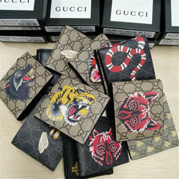 Discount leather clutch bags for men - Designer Tote Wallet Real Genuine Leather Luxury Men Short Wallets for Women Men Snake Bee Tiger Wolf Coin Purse Clutch