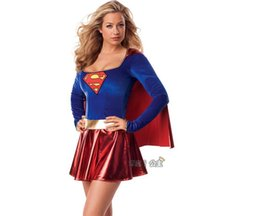 Wholesale wonder woman superhero costume online – ideas Superwoman Dress Super Cosplay Costumes For Adult Girls Halloween Super Girl Suit Superhero Wonder Woman Super Hero Dress