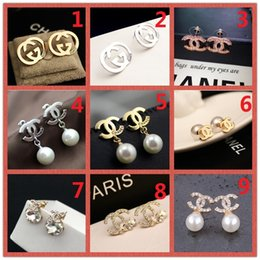 $enCountryForm.capitalKeyWord Australia - HOT!Classic 14K Brand Stud earring Gold Silver Letter Logo Pin Pearl Diamond Collar Pendant Ms Wedding Party Gift Box A6