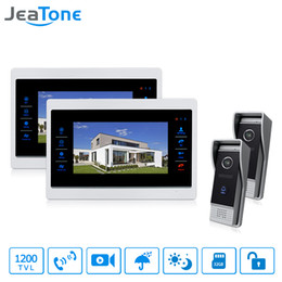 "video call phones Australia - JeaTone Wired 7"" Video Door Phone Intercom Home Intercom System Hands-free 2 calling Cameras 2 Monitor Night Vision Security System Kits"