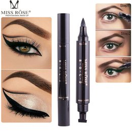 sexy pen NZ - 2018 Brand MISS ROSE 1 Pcs Charming Cat Eye Winged Eyeliner Sexy Eye Cosmetic Seal Stamp Wing Double Head Waterproof Eyeliner Pen Tool