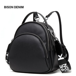 large genuine leather backpack UK - Bison Denim Multifunction Backpack Female Genuine Leather Ladies Shoulder Bags Brand Small Women Backpack Mochila Feminina N1553 Y19051405