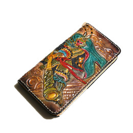 leather carved wallets UK - Women Genuine Leather Card Holder Carving Sun WuKong Wallets Bag Purses Men Clutch Vegetable Tanned Leather Long Wallet B1911