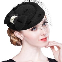 Wholesale Vintage Women Fascinator Cambric Cocktail Hat Hairband Veiling Headband Lady Wedding Party Headdress Hair Accessoies
