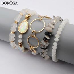 $enCountryForm.capitalKeyWord Australia - wholesale 5Sets (5Pcs set Mixed Bracelets) Multi-kind Jades Gems Beads Opal Crystal Glass Faceted Bead Bracelet Sets Jewelry WX1187