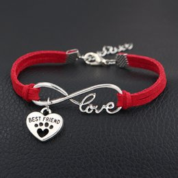 $enCountryForm.capitalKeyWord Australia - Single layer Red Leather Suede Antique Silver Infinity Love Dog Paw Prints & Best Friends Heart Bracelets Original Design Women Men Jewelry