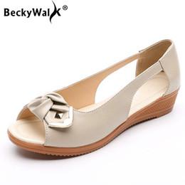 peep toe sandals low heels 2019 - Summer Genuine Leather Comfortable Ladies Wedge Sandals Women Shoes Hollow Peep Toe Bowtie Low Heels Sandals Shoes Woman