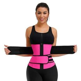 Los Estados Unidos de doble cinta 100% de látex de la cintura Trainer Body Shapers aptitud cintura Trainer Fajas Cierre adelgaza la correa Fajas en venta