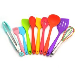 kitchen spatula sets Australia - 10 Pcs set Silicone Kitchen Utensils Set Colorful Spoon Spatula Pasta Server Whisk Ladle Strainer For Home Cooking BBQ Baking SH190929