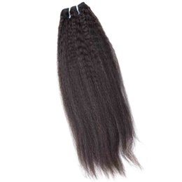 "Highest Quality Hair UK - Brazilian Peruvian Natural Human Hair Bundle 1pc Kinky Straight High Quality Indian Malaysian Virgin Hair Weaving 12""- 30inch Black Color"