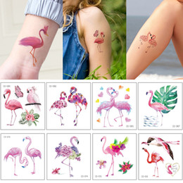 art arm Australia - Lovely Flamingo Body Art Temporary Tattoo Decal Transfer Paper Cute Cartoon Neck Arm Hand Kids Tattoo Sticker Design Children Birthday Gifts