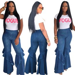 Latest Jeans Australia - Latest Trendy Women Blue Denim Flare Pants Light Washed Long Jeans with Ruffles High Waist Fashion Jeans Casual Trousers 2019 Summer Autumn