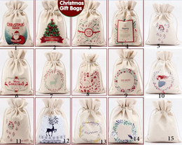 Wholesale Christmas Gift Bag Pure Cotton Canvas Drawstring Sack Bags With Xmas beer Cartoon Santa Claus Girl boys Gifts Candy bag