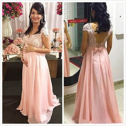 $enCountryForm.capitalKeyWord Australia - Arabic Lace Beaded Maternity Evening Dresses Cap Sleeves Chiffon Prom Dresses Cheap Formal Party Bridesmaid Pageant Gowns Z49