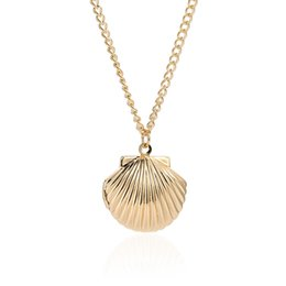 Discount long chain fashion lockets - Join.Y Necklace Open Gold Color Women Jewelry Fashion Trend Metal Shell Necklace Female Long Pendant Locket Necklaces