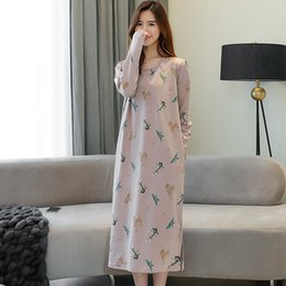 Ladies cotton nightdresses online shopping - YF539 spring ladies long sleeved cotton nightdress loose outer wear long cotton home service