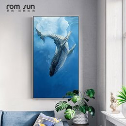 Discount whale painting - Nordic Minimalist style Marine Animal Whale dolphin Canvas Art Print Nursery Art Prints Anime Poster Modern Abstract Wal