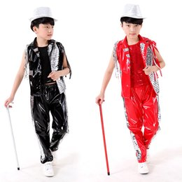 flash dancing Australia - Free shipping,red black PU children boy girl flashing sequins Jazz hiphop stage dance costume shirt vest pants ballroom clothing