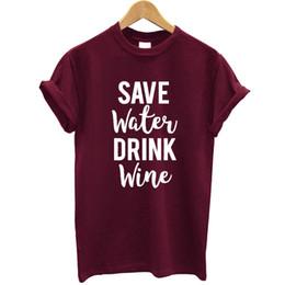 Funny Drinking Shirts Women Australia - Save Water Drink Wine Printed Women T Shirt Cotton Short Sleeves Funny Summer Tops Streetwear Tshirt Women Casual Tee Shirt