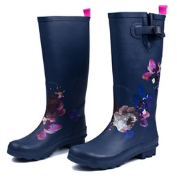 $enCountryForm.capitalKeyWord Australia - Hot Sale-PLUS BIG SIZE:35-42 Fashion Women Rubber Rain Boots Anti-slip Flower Print Rainboots Tall Wellies Knee-high Water Shoes Woman