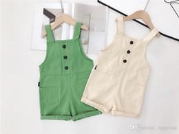 $enCountryForm.capitalKeyWord Australia - INS Toddler Kids Boys Jumpsuits Overalls Blank Blet Rompers Front Buttons Pocket Designs Summer Spring Children Girls Suspender