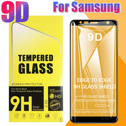 $enCountryForm.capitalKeyWord Australia - 9D Clear Transparent Full Coverage Tempered Glass Curved Edge Screen Protector Anti-shock For Samsung A9 A8 A7 A6 Plus J4 J6 J7 J8 Have Box