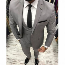 Wholesale blazers for men for sale - Group buy Office suits Light Gray Business Men Suits for Wedding Groom Tuxedo Groomsmen Blazer trajes de hombre Pieces Terno Masculino
