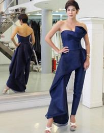 $enCountryForm.capitalKeyWord NZ - Stylish Dark Navy Jumpsuit Evening Dresses for Women Prom Dresses Organza Overskirt Party Gowns Pant Suits Cocktail Dresses