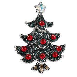 mexican christmas party decorations Australia - Christmas Tree Gift Alloy Brooch Cute New Year Pin Party Decoration Rhinestone Brooch Jewelry Christmas Tree Brooch jewelry 10pcs lot