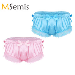 f62909f134fc Mens Sissy Lingerie Gay Underwear Sissy Satin Panties for Men Shiny Ruffled  Floral Lace Bowknot Knickers Briefs Underwear