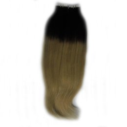 european straight human hair extensions UK - Tape In Human Hair Extensions 40pcs Double Drawn Straight Skin Weft Adhesive Hair None Remy ape on Extensions Black and Blonde
