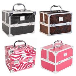 $enCountryForm.capitalKeyWord NZ - Behogar Portable Aluminum Alloy PU Leather Cosmetic Makeup Vanity Storage Box Case Organizer with 5 Pull-out Trays